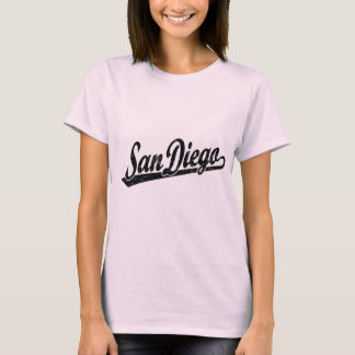Logotipo de la escritura de San Diego en el negro Playera