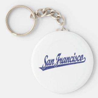 Logotipo de la escritura de San Francisco en el az Llavero Redondo Tipo Pin