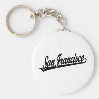 Logotipo de la escritura de San Francisco en negro Llavero Redondo Tipo Pin