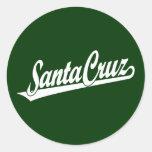 Logotipo de la escritura de Santa Cruz en blanco Pegatina Redonda
