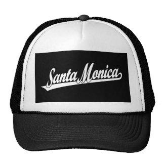 Logotipo de la escritura de Santa Mónica en blanco Gorra