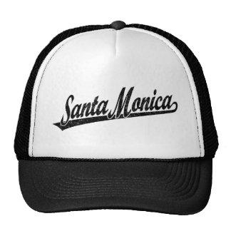 Logotipo de la escritura de Santa Mónica en el neg Gorras De Camionero