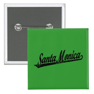 Logotipo de la escritura de Santa Mónica en el neg Pin Cuadrada 5 Cm