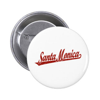 Logotipo de la escritura de Santa Mónica en el roj Pin Redondo 5 Cm