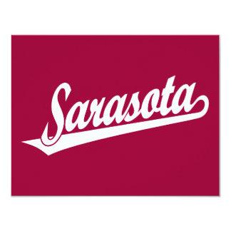 Logotipo de la escritura de Sarasota en blanco Invitación 10,8 X 13,9 Cm