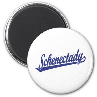 Logotipo de la escritura de Schenectady en azul Imán Redondo 5 Cm
