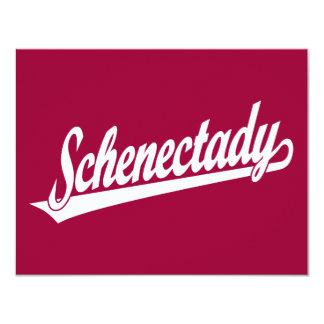 Logotipo de la escritura de Schenectady en blanco Invitación 10,8 X 13,9 Cm