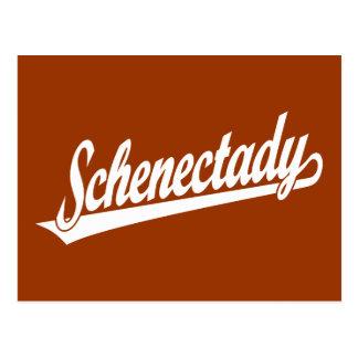 Logotipo de la escritura de Schenectady en blanco Postal