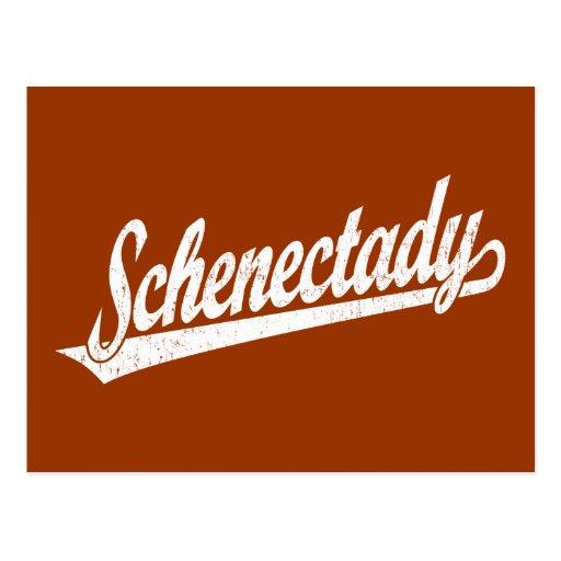 Logotipo de la escritura de Schenectady en el blan Tarjetas Postales