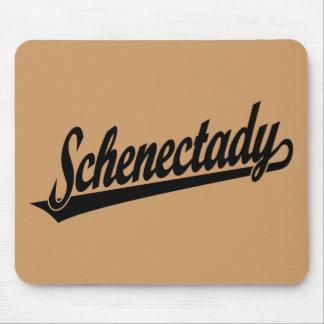 Logotipo de la escritura de Schenectady en negro Alfombrillas De Raton