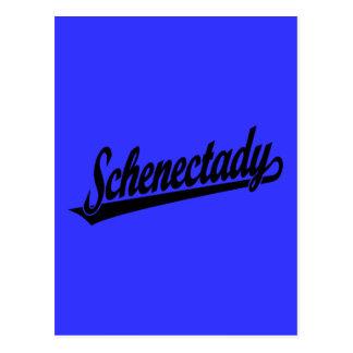 Logotipo de la escritura de Schenectady en negro Postal