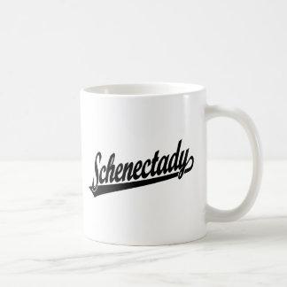 Logotipo de la escritura de Schenectady en negro Taza Básica Blanca