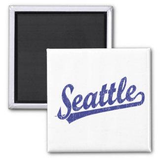 Logotipo de la escritura de Seattle en azul Imán Para Frigorifico