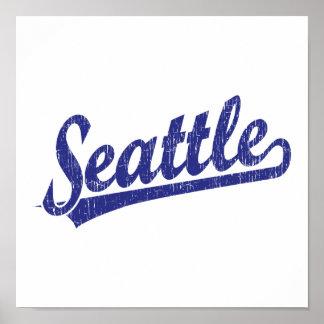 Logotipo de la escritura de Seattle en azul Posters