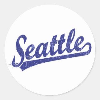 Logotipo de la escritura de Seattle en azul Etiqueta