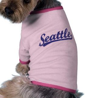 Logotipo de la escritura de Seattle en azul Ropa De Perro