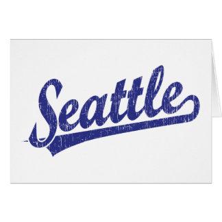Logotipo de la escritura de Seattle en azul Tarjeta De Felicitación