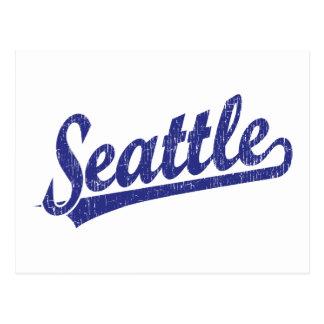 Logotipo de la escritura de Seattle en azul Postales