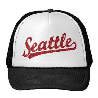 Logotipo de la escritura de Seattle en rojo Gorros Bordados