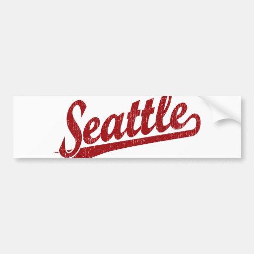 Logotipo de la escritura de Seattle en rojo Pegatina Para Auto