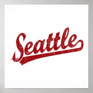 Logotipo de la escritura de Seattle en rojo Póster