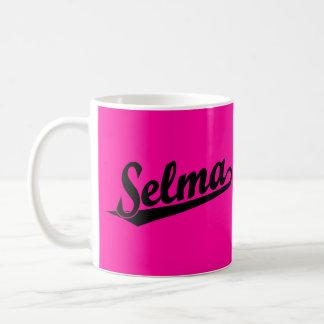 Logotipo de la escritura de Selma en negro Taza