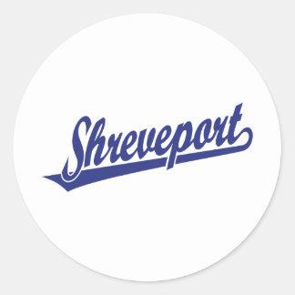Logotipo de la escritura de Shreveport en azul Pegatina Redonda