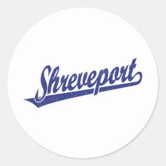 Logotipo de la escritura de Shreveport en el azul  Pegatinas Redondas