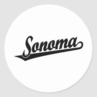Logotipo de la escritura de Sonoma en negro Pegatina Redonda