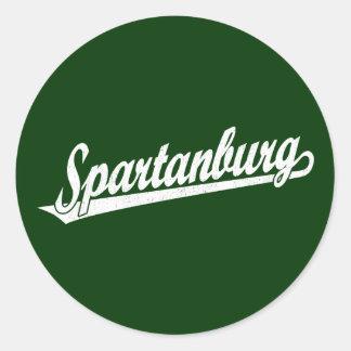 Logotipo de la escritura de Spartanburg en el Pegatina Redonda