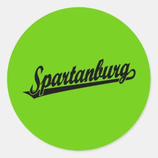 Logotipo de la escritura de Spartanburg en negro Pegatina Redonda