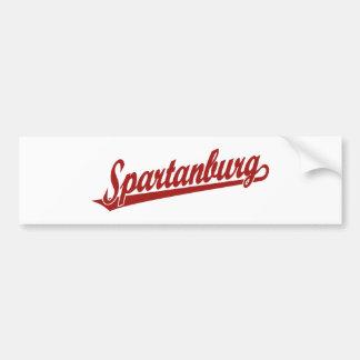 Logotipo de la escritura de Spartanburg en rojo Pegatina Para Auto