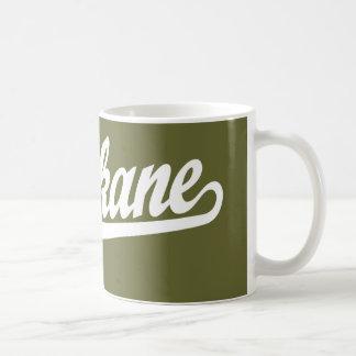 Logotipo de la escritura de Spokane en blanco Tazas De Café
