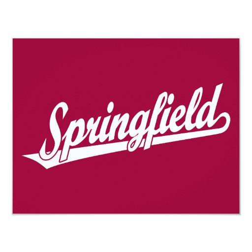 """Logotipo de la escritura de Springfield en blanco Invitación 4.25"""" X 5.5"""""""