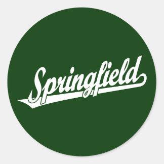 Logotipo de la escritura de Springfield en blanco Pegatina Redonda