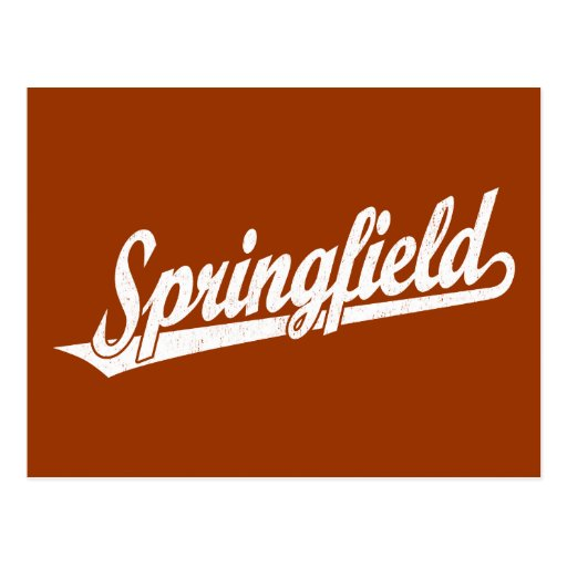 Logotipo de la escritura de Springfield en el blan Tarjetas Postales