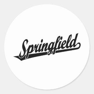 Logotipo de la escritura de Springfield en negro Pegatina Redonda