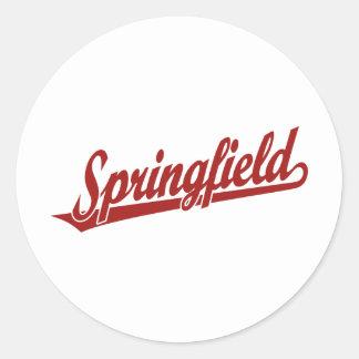 Logotipo de la escritura de Springfield en rojo Pegatina Redonda