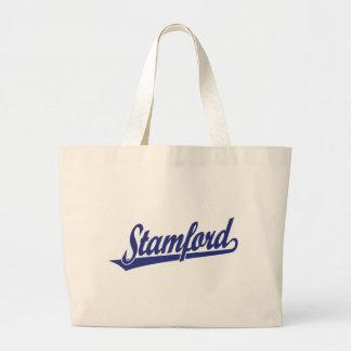 Logotipo de la escritura de Stamford en azul Bolsa Lienzo
