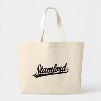 Logotipo de la escritura de Stamford en negro Bolsas De Mano