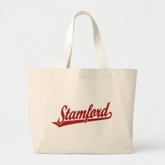 Logotipo de la escritura de Stamford en rojo Bolsas De Mano