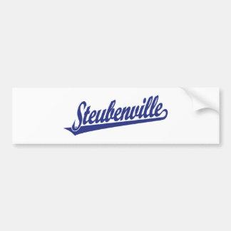 Logotipo de la escritura de Steubenville en azul Pegatina Para Auto