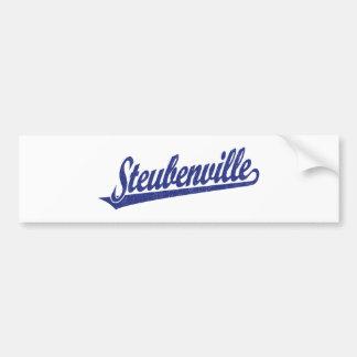 Logotipo de la escritura de Steubenville en el azu Pegatina Para Auto