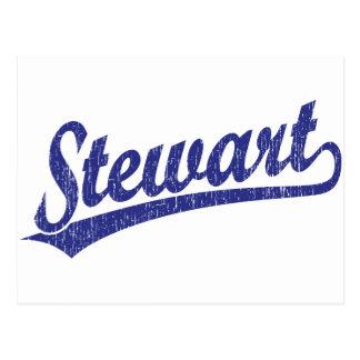 Logotipo de la escritura de Stewart en azul Postales