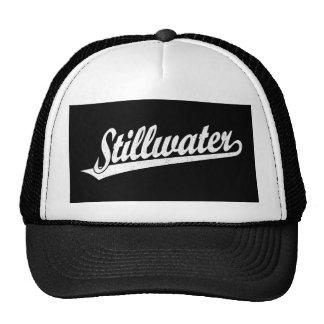 Logotipo de la escritura de Stillwater en el blanc Gorros Bordados
