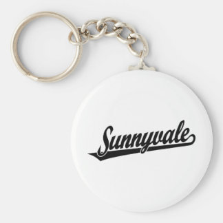 Logotipo de la escritura de Sunnyvale en negro Llavero Redondo Tipo Pin