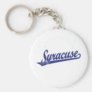 Logotipo de la escritura de Syracuse en azul Llavero Redondo Tipo Pin