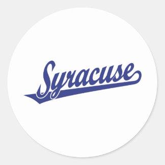 Logotipo de la escritura de Syracuse en azul Pegatina Redonda