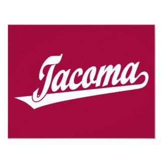 Logotipo de la escritura de Tacoma en blanco