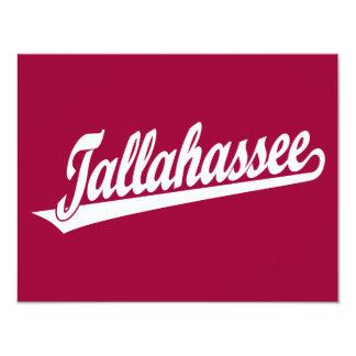 Logotipo de la escritura de Tallahassee en blanco Invitación 10,8 X 13,9 Cm